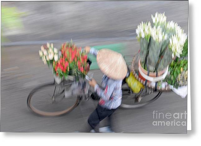Flower Seller Greeting Card by Marion Galt