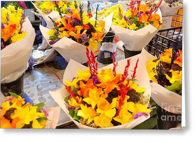 Flower Vendor Pikes Place Public Market Seattle Wa Usa Greeting Card