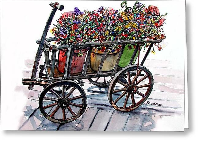 Greeting Card featuring the painting Flower Wagon by Terry Banderas