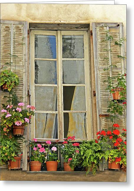 Greeting Card featuring the photograph Flower Window Provence France by Dave Mills