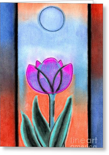 Greeting Card featuring the pastel Flower With Blue Moon by Christine Perry