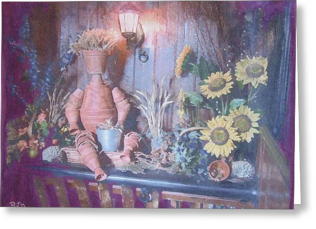 Greeting Card featuring the painting Flowerpotman by Richard James Digance