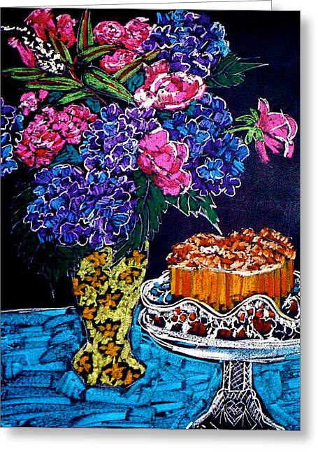 Flowers And Cake Greeting Card
