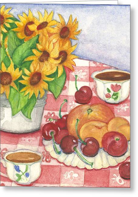Flowers And Fruit Greeting Card by Barbara Esposito