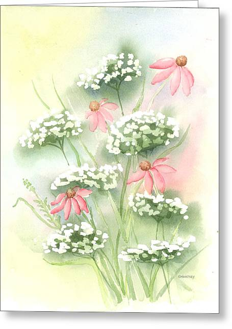 Flowers And Lace Greeting Card by Susan Mahoney