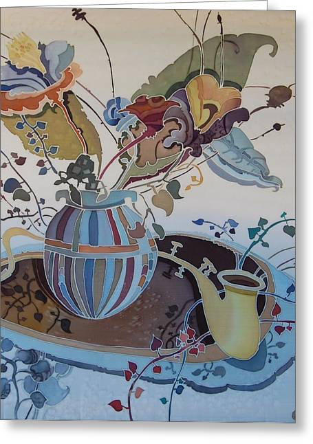 Flowers And Saxophone Greeting Card by Irina Dorofeeva