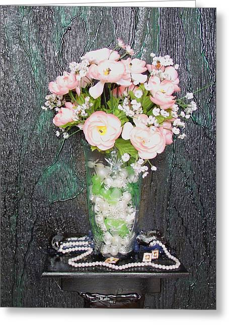 Flowers And Vase Greeting Card by Angela Stout