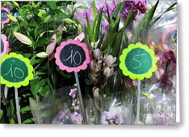 Flowers For Sale At Market Greeting Card by Sami Sarkis
