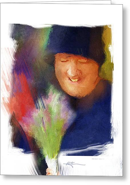 Flowers For Sale Greeting Card by Bob Salo