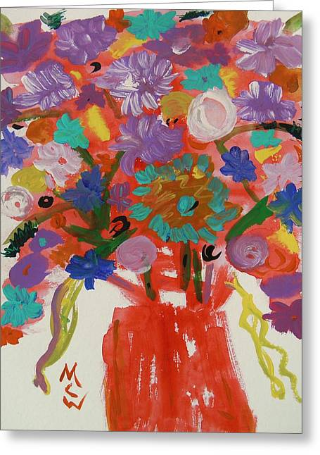 Flowers In A Wild Moment Greeting Card by Mary Carol Williams