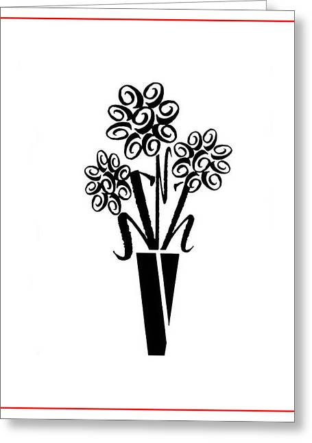 Flowers In Type Greeting Card by Connie Fox