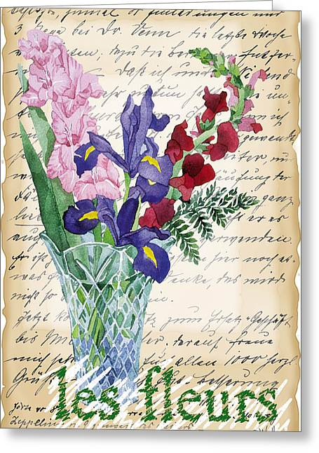 Flowers In Vase Collage Greeting Card