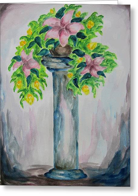 Greeting Card featuring the painting Flowers On A Pedestal - Wcs by Cheryl Pettigrew
