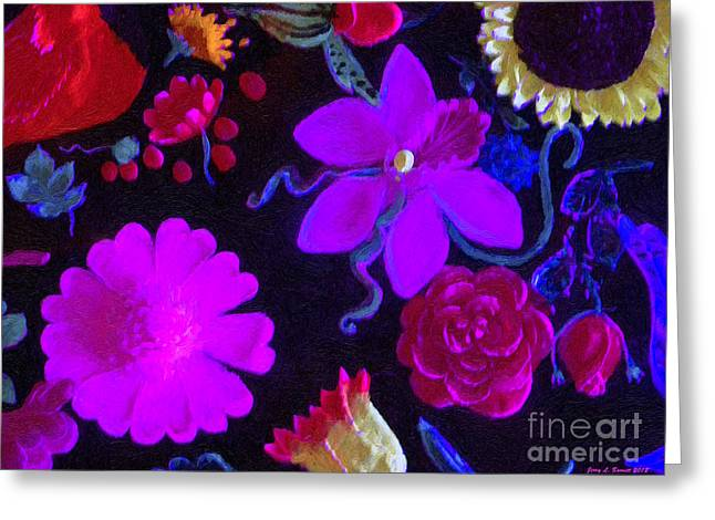 Flowers On Black Greeting Card