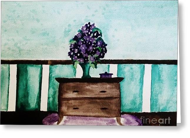 Flowers On My Dresser Greeting Card by Marsha Heiken