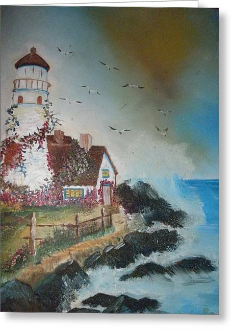 Flowers On My Lighthouse Greeting Card by June Brown