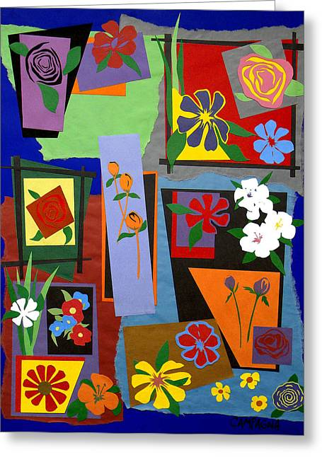 Bass Tapestries - Textiles Greeting Cards - Flowers Study 1 Greeting Card by Teddy Campagna
