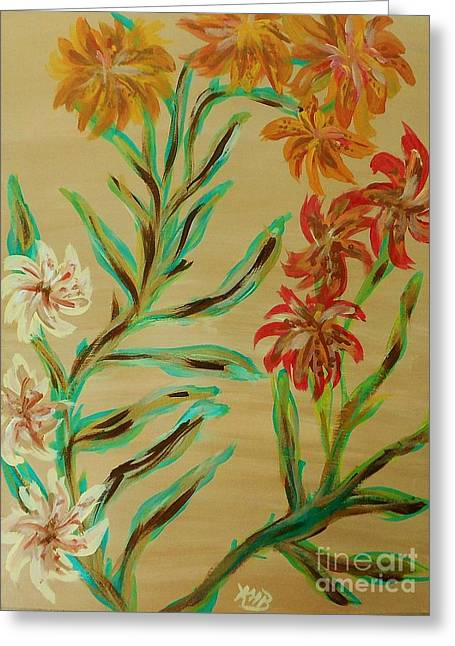 Flowers That Look Like Old Fashioned Wallpaper Greeting Card by Marie Bulger