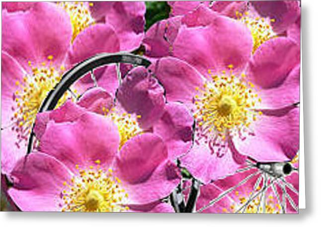 Flowers With Bicycle Tires Greeting Card by De Beall