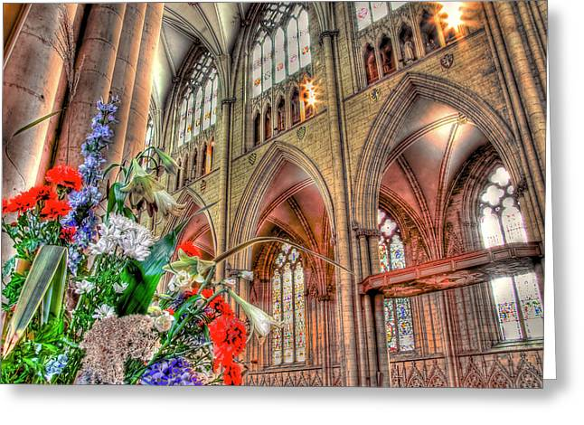 Flowers York Minster - Hdr Greeting Card by Colin J Williams Photography