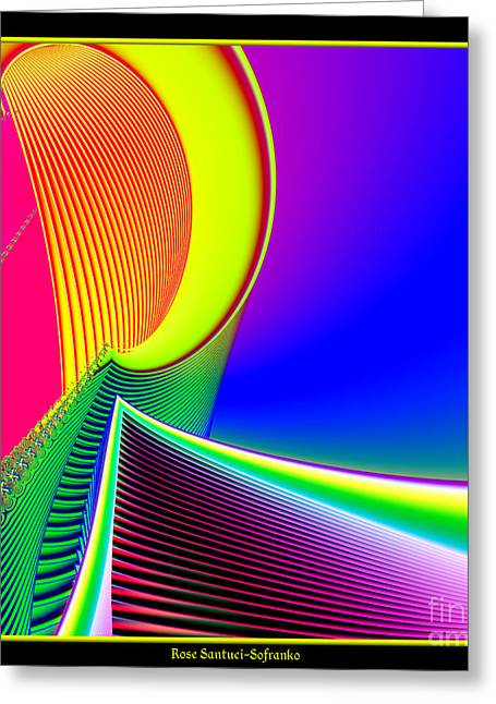 Fluorescent Boat And Giant Wave Fractal 95 Greeting Card by Rose Santuci-Sofranko