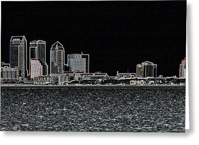 Fluorescent Tampa Panorama Greeting Card by Carol Groenen