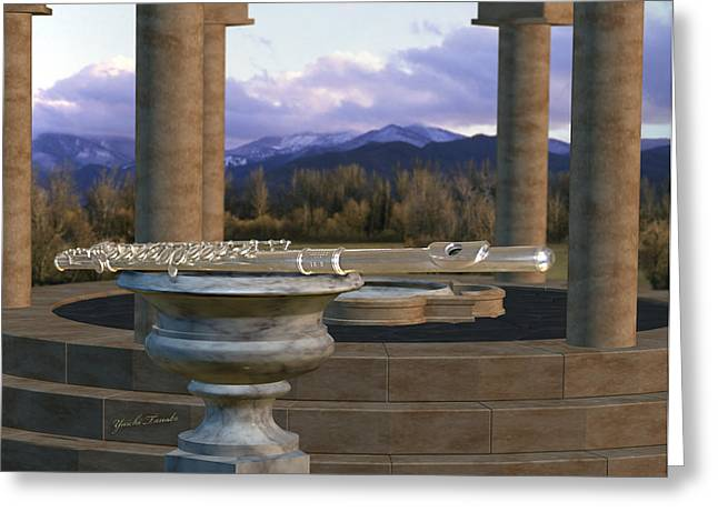 Flute On Marble Vase 1 Greeting Card