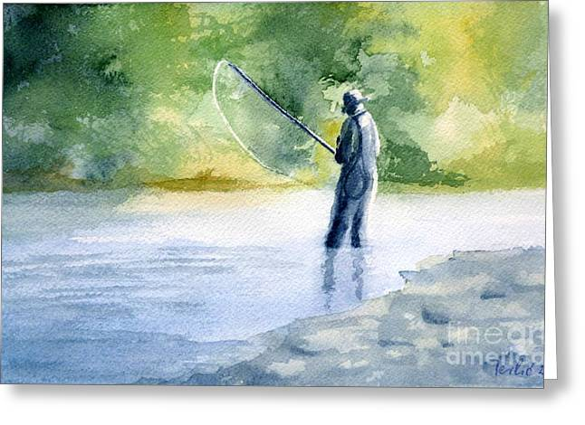 Flyfishing Greeting Card by Eleonora Perlic