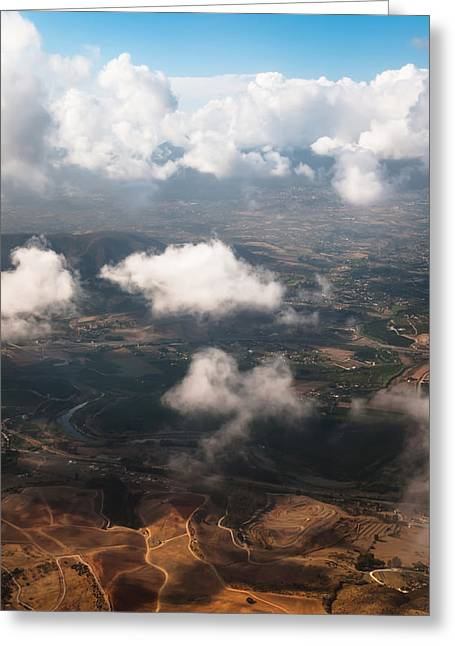 Flying Over Spanish Land Iv Greeting Card by Jenny Rainbow