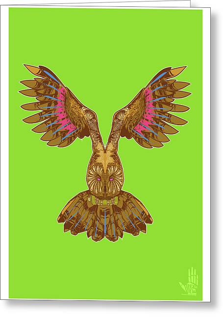 Flying Owl Greeting Card by Nelson Garcia