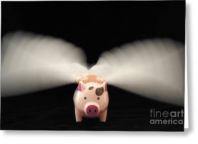 Flying Pig Toy With Wings Greeting Card by Sami Sarkis
