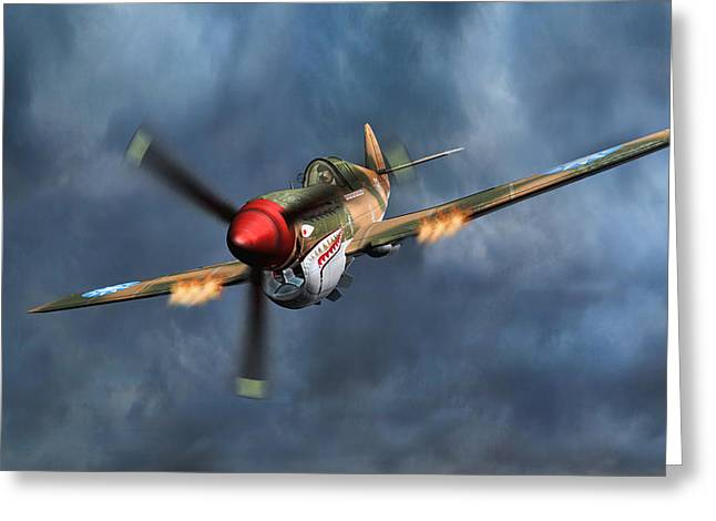 Flying Tiger P-40 Warhawk Greeting Card by Walter Colvin