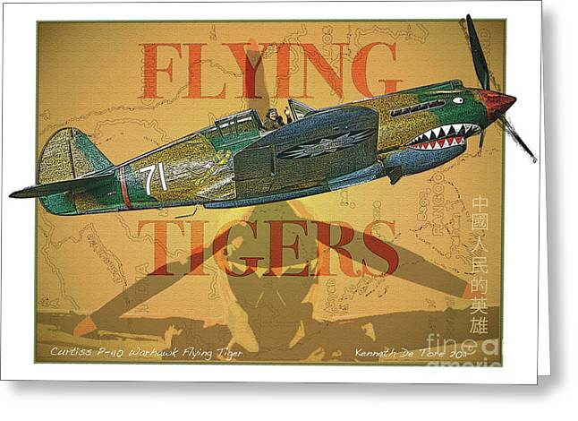 Warhawk Greeting Cards - Flying Tigers Greeting Card by Kenneth De Tore
