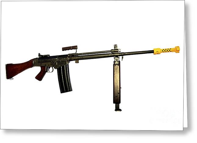 Fn Fal 7.62mm L2a1 Automatic Rifle Greeting Card by Andrew Chittock