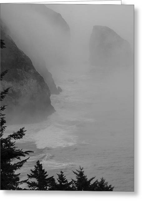 Fog And Cliffs Of The Oregon Coast Greeting Card by Mick Anderson