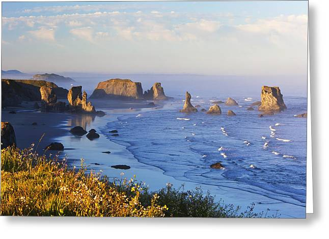 Fog Covers Rock Formations Along The Greeting Card