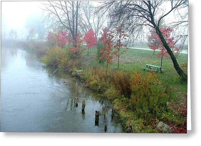 Fog On The Muskegon River Greeting Card