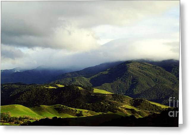 Greeting Card featuring the photograph Fog Over Santa Ynez Valley by Gary Brandes