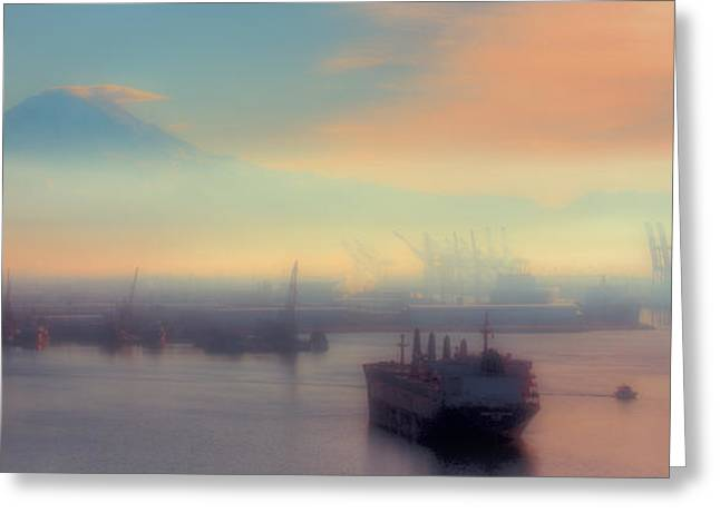 Fog Over The Tide Flats Greeting Card by David Patterson