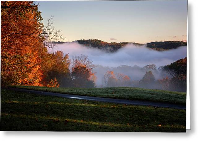 Greeting Card featuring the photograph Foggy Dawn by Tom Singleton
