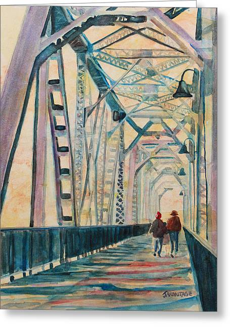 Foggy Morning On The Railway Bridge IIi Greeting Card by Jenny Armitage