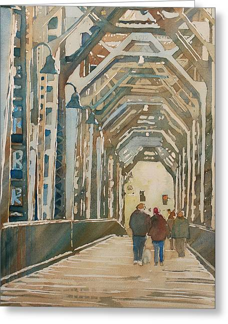 Foggy Morning On The Railway Bridge One Greeting Card by Jenny Armitage