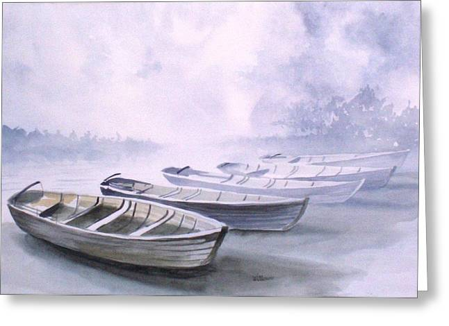 Greeting Card featuring the painting Foggy Morning by Richard Willows