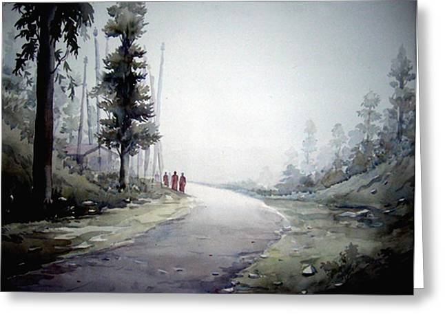 Greeting Card featuring the painting Foggy Mountain Path by Samiran Sarkar