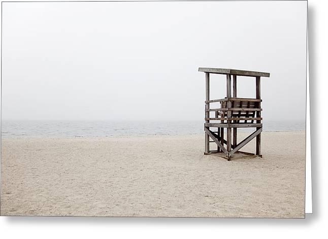 Foggy New England Beach Greeting Card by Jenna Szerlag