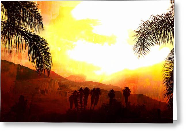 Foggy Palms Greeting Card by Sharon Soberon