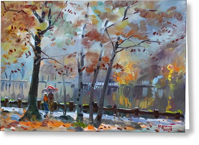Foggy Rain By The Lake Greeting Card by Ylli Haruni