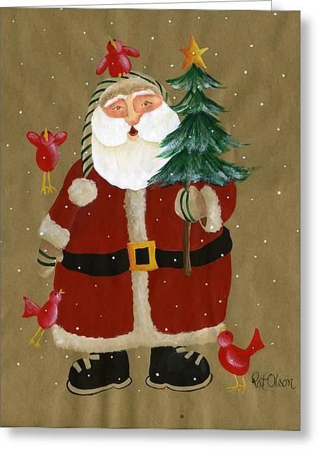 Folk Art Santa With Birds Painting By Pat Olson