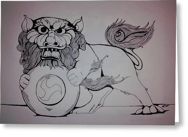 Foo Lion Greeting Card by Ronald Mcduff