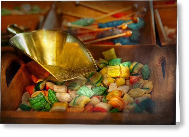 Food - Candy - One Scoop Of Candy Please  Greeting Card by Mike Savad